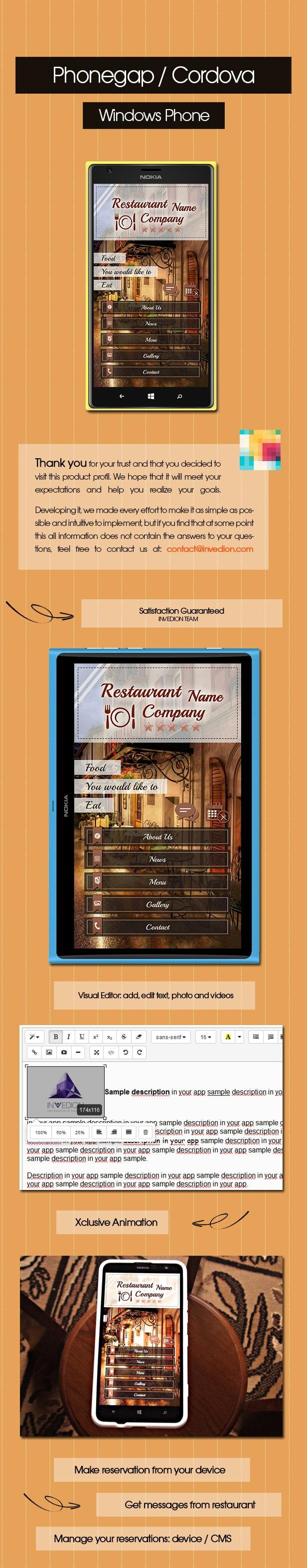Restaurant App With CMS - Windows Phone 2