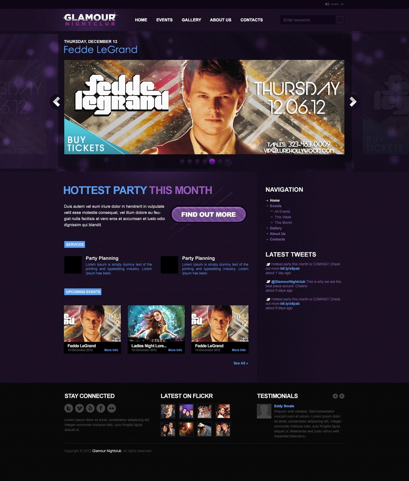 Glamour Nightclub - WordPress Theme 5